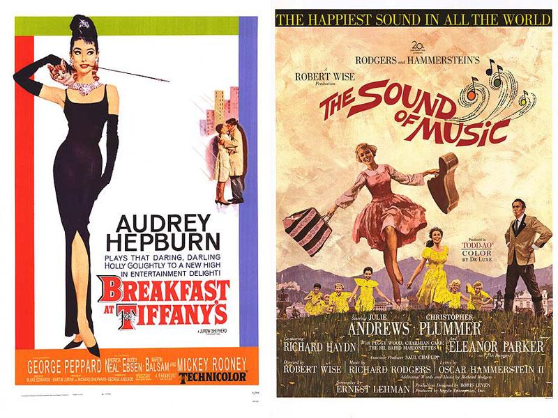 1961: Breakfast at Tiffany's Κάθε γυναίκα ήθελε να είναι σαν εκείνη και όλοι οι άντρες την ήθελαν στο πλευρό τους. Ότι βλέπετε σ' αυτήν την αφίσα είναι icon. Η μακριά πίπα, τα κοσμήματα, η γάτα και το μακρύ μαύρο φόρεμα της. 1965: The Sound of Music Και ζωγραφική, και μια εικόνα που λέει τα πάντα για την ταινία! Σίγουρα classic.