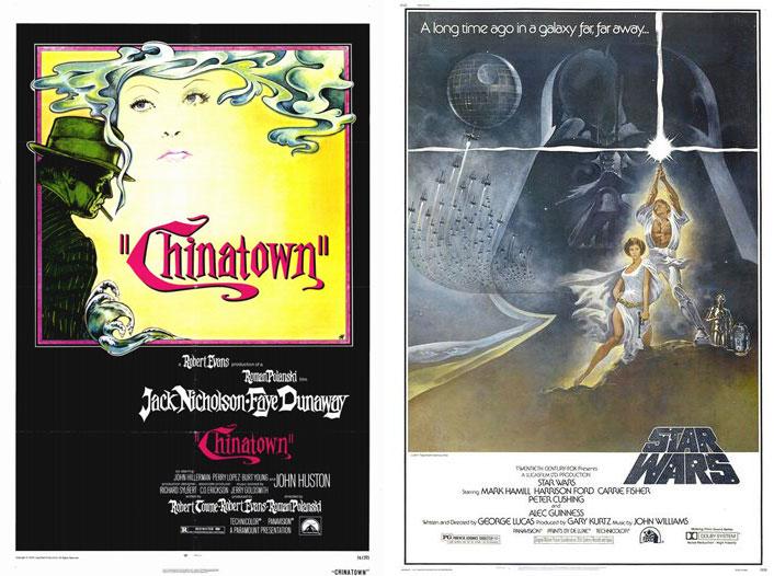 1974: Chinatown Με το που κυκλοφόρησε έγινε classic! Ο μυστηριώδης τύπος καπνίζει και ο καπνός σχηματίζει τα μαλλιά της γυναίκας! Τέλεια! 1977: Star Wars Αλίμονο! All time classic για διαστημικές ταινίες.