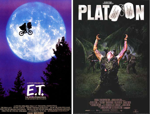 1982: E.T. Το σινεμά είναι φαντασία και όνειρο. Νάτα και τα δύο! 1986: Platoon Αρχικά υπήρχε έτοιμη να βγει μια άλλη αφίσα, αλλά τελευταία στιγμή την άλλαξαν μ' αυτήν. Εύρημα σπουδαίο τα δύο Ο να σχηματιστούν με στρατιωτικές ταυτότητες.