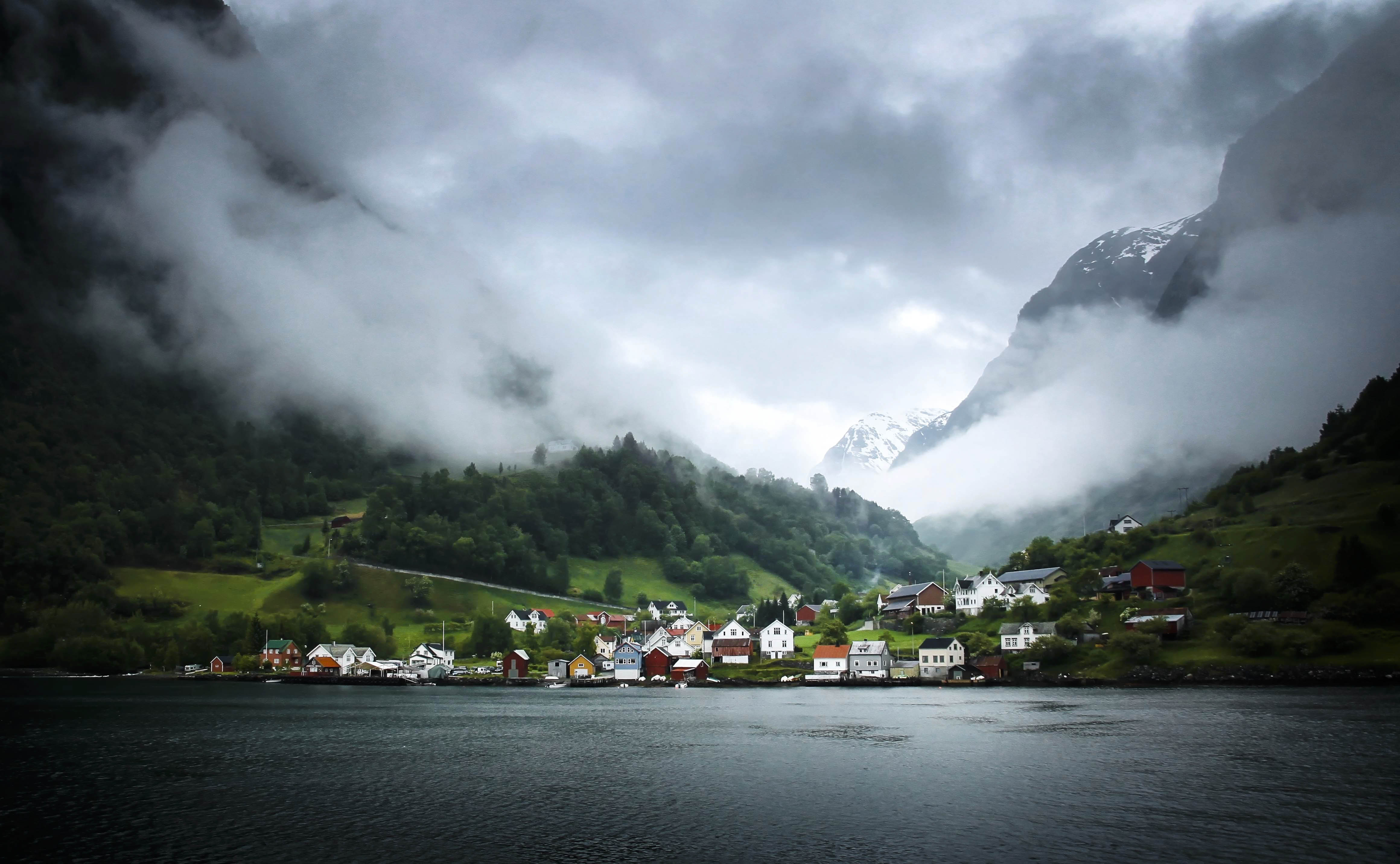 A small village nested among the fjords in Norway.
