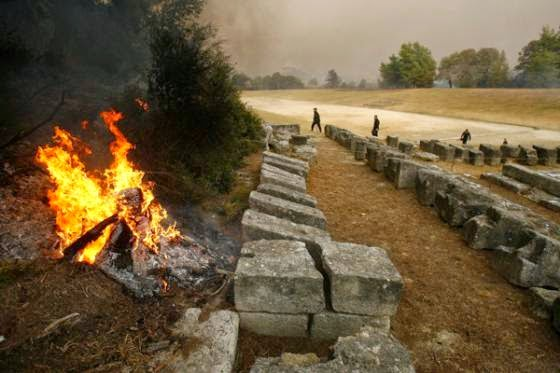 Αρχαία Ολυμπία, 2007, Πυρκαγιές, Πελοπόννησος,