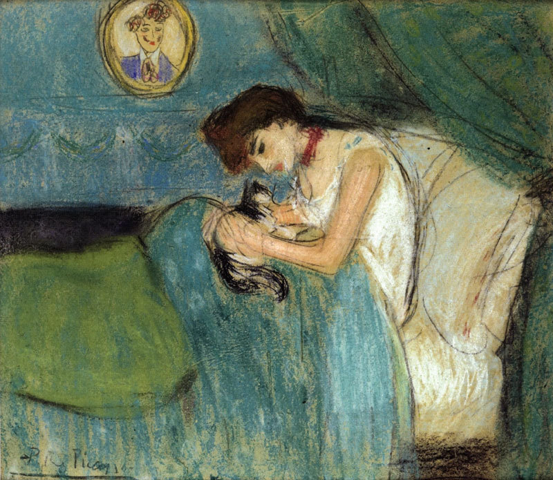 woman-with-cat (1900), Pablo Picasso, παιδί,