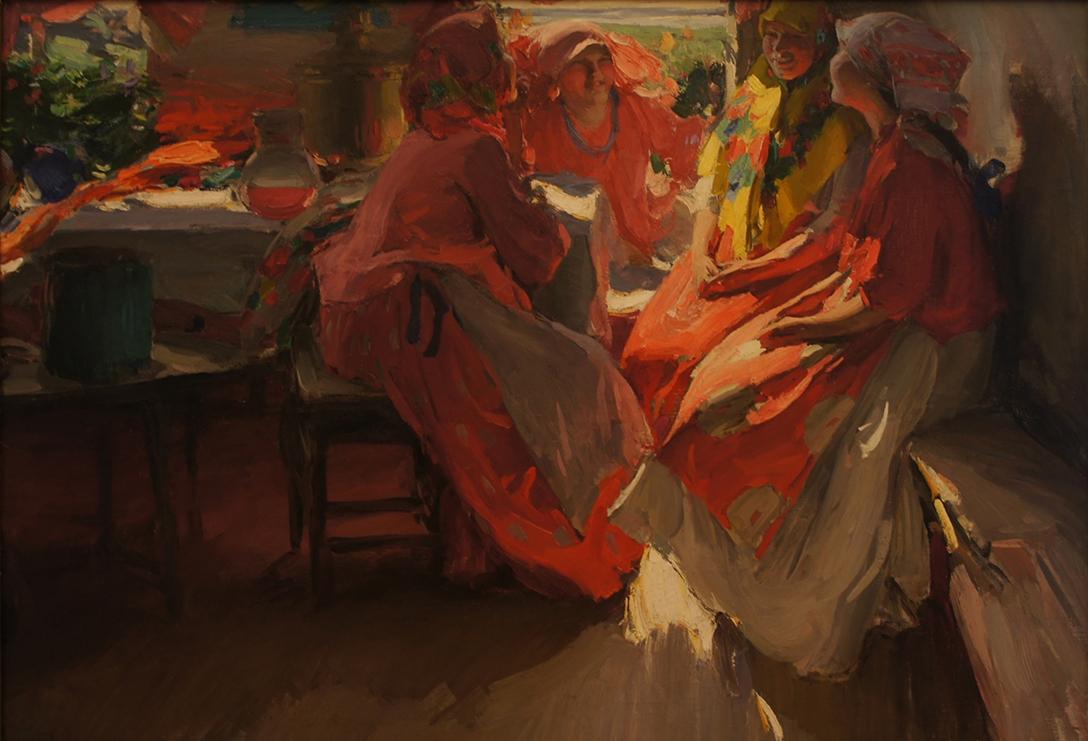 Abram Arkhipov, Being on a Visit, 1915, Ρωσία 1917, Ρώσικη επανάσταση, Τέχνη, Ζωγραφική, Ρώσικη Πρωτοπορεία