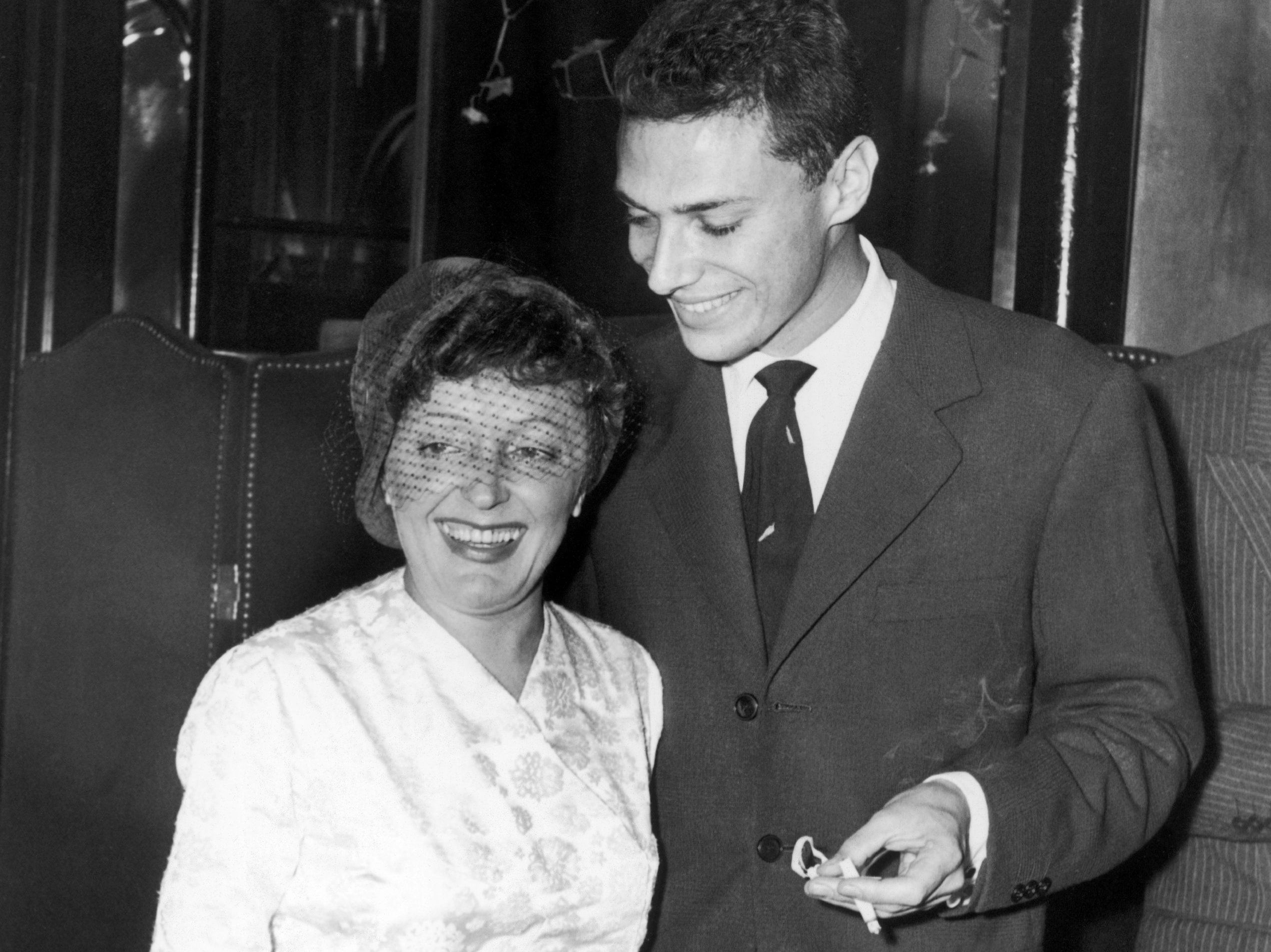"Georges Moustaki with Edith Piaf in New York in 1958. Moustaki wrote the lyrics to ""Milord,"" one of Piaf's biggest hits."