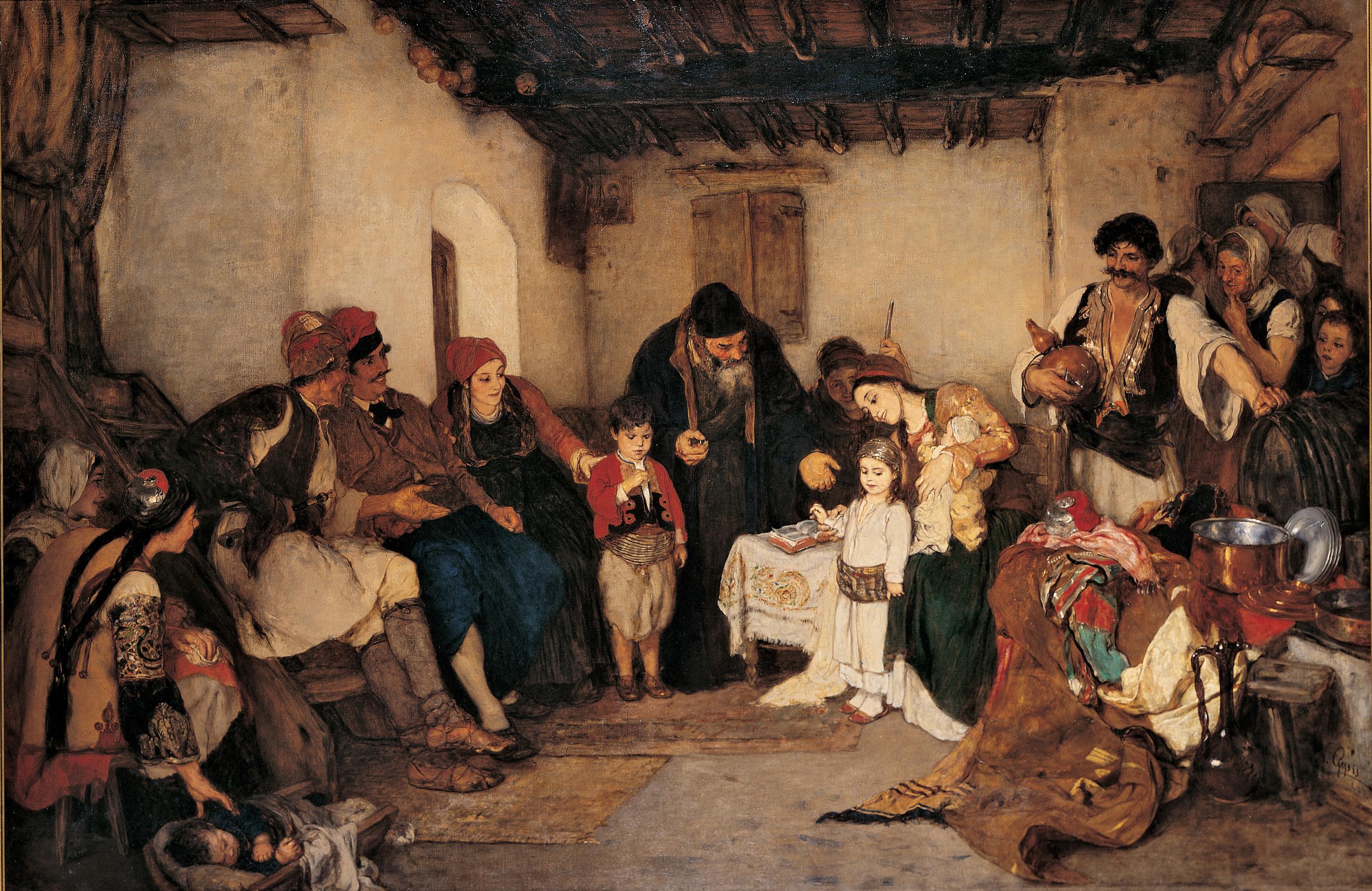 Παιδικοί Αρραβώνες, 1877. Λάδι σε μουσαμά, ΕΙΚΑΣΤΙΚΑ, ΖΩΓΡΑΦΙΚΗ, ΝΙΚΟΛΑΟΣ ΓΥΖΗΣ, ΤΗΝΟΣ, ΣΧΟΛΗ ΤΟΥ ΜΟΝΑΧΟΥ,