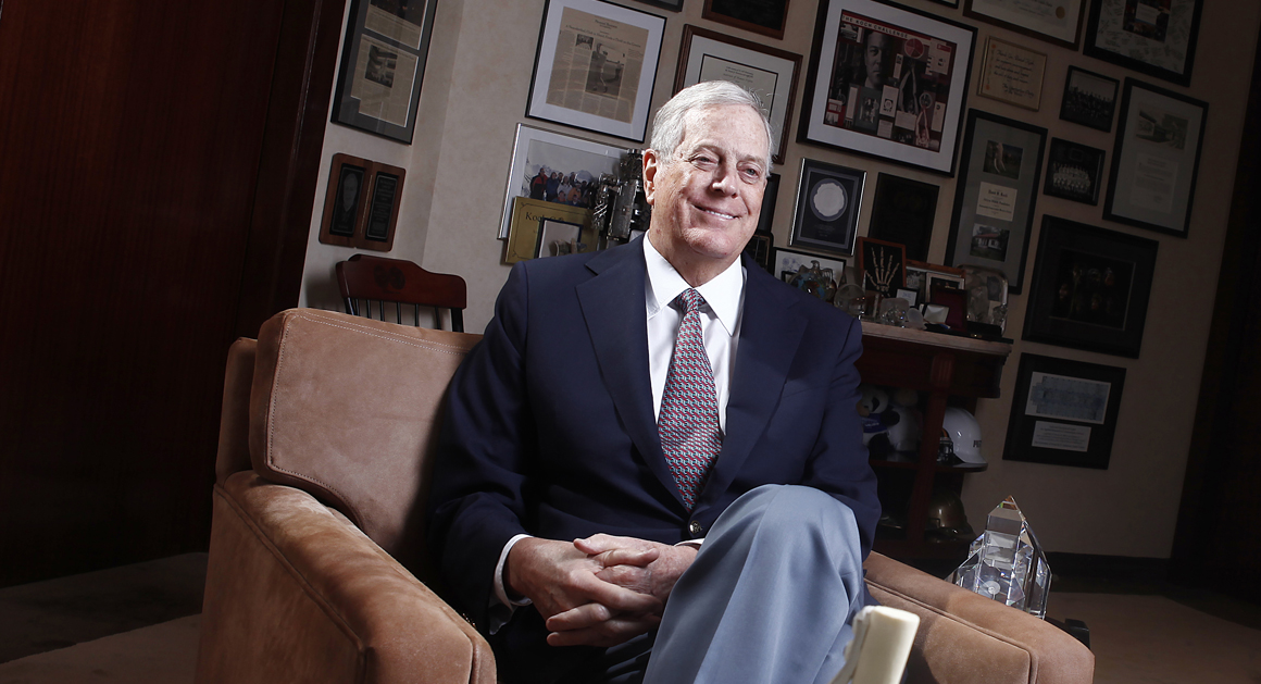 David Koch, the executive vice president of Koch Industries, at his Madison Avenue, New York office during an exclusive interview with Newsmax Magazine September 25, 2012. (AP Photo/Carlo Allegri)