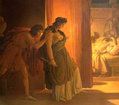Η Κλυταιμνήστρα διστάζει πριν σκοτώσει τον Αγαμέμνονα, έργο του Pierre-Narcisse Guérin, 1817.