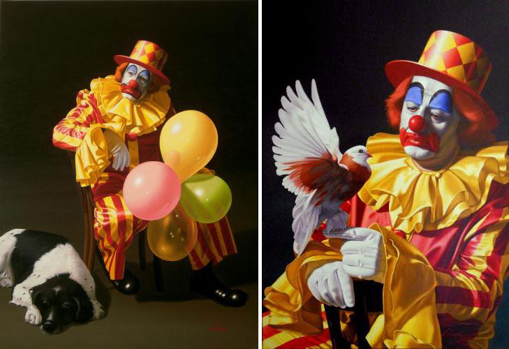 εικαστικά, φωτορεαλισμός, Stavros Douzinas, Σταύρος Δουζίνας, ζωγραφική, art, clown, Κλοουν, nikosonline.gr