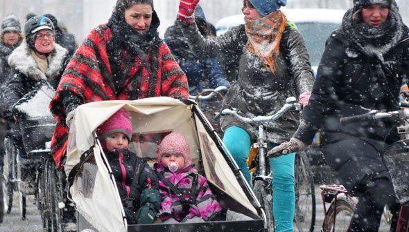 snow_copenhagen, Ποδήλατα, Δανία, Κοπεγχάγη, ποδηλάτες,